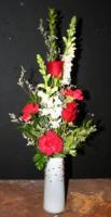 White Beaded Vase