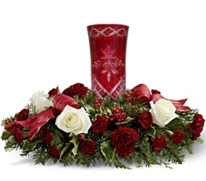 Red Glass Hurricane Centerpiece