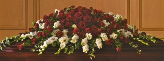 Red & White Casket Cover 21ACC