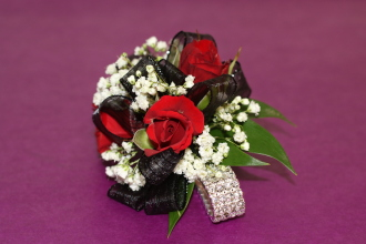 Red Rose diamond corsage