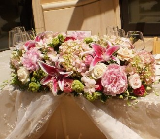 Blushing Bride Headtable Centerpiece