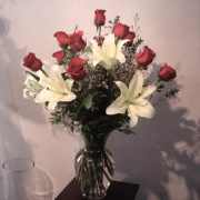Dozen Red Roses with Oriental Lilies