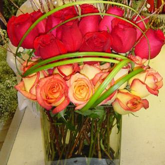 Artistic Two Dozen Multi Color Roses