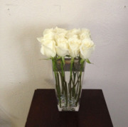 Contemporary Pave Style White Roses