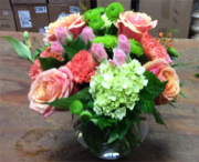EFG215 Mixed flowers arranged in bubble bowl
