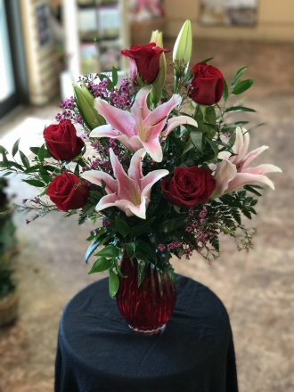 Roses & Lilies In Vase