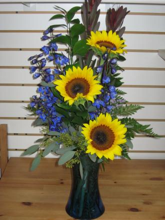 Sunflower Blue Vase