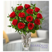 12 RED ROSES IN CRYSTAL VASE
