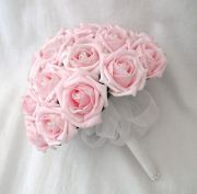 ALL PINK ROSE BRIDAL BOUQUET 12 ROSES