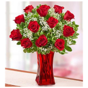 PREMIUM RED ROSE IN A RUBY VASE