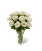 12 WHITE ROSES ARRANGED