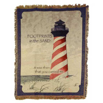 Throw - Footprints with Red Lighthouse