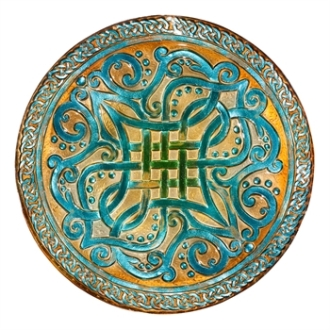 Celtic Stained Glass Bird Bath
