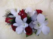 Heritage House Custom Wrist Corsage-Red Roses, White Dendrobium Orchids