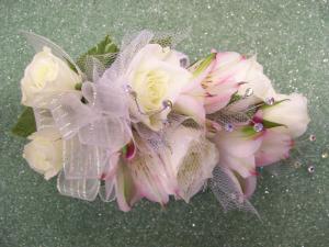 Heritage House Custom Wrist CorsageWhite Roses & White Alstromeria