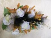 Heritage House Custom Wrist Corsage-White Roses and Gold Mokara Orchids