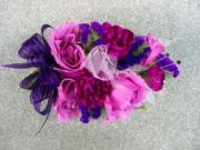 Heritage House Custom Wrist Corsage-Pink Roses with pink & Purple Mixed flowers