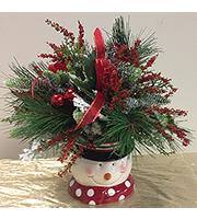 Snowman Vase with Silks