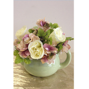 Tea Pot With Silk Flowers