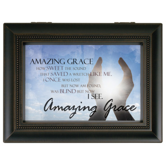 Amazing Grace Antique Black Music Box