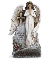 ANGEL ON STONE WITH CROSS