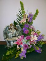 Angel Birdfeeder with bluebird & Flowers