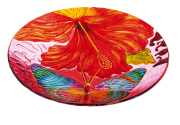 GLASS BIRDBATH HIBISCUS BUTTERFLY