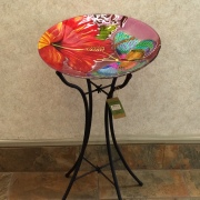 GLASS BIRDBATH HIBISCUS BUTTERFLY TALL STAND
