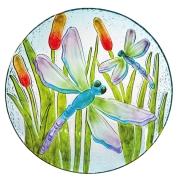 GLASS BIRDBATH-DRAGONFLY SHIMMER BOWL