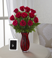 The FTD® In Love with Red Roses™ Bouquet with Heart Pendant