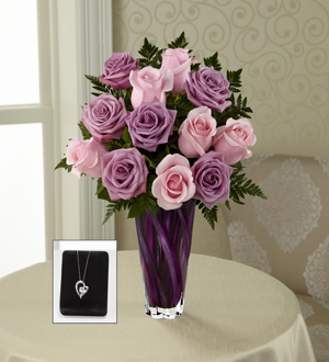 The FTD® Royal Treatment™ Rose Bouquet with Heart Pendant