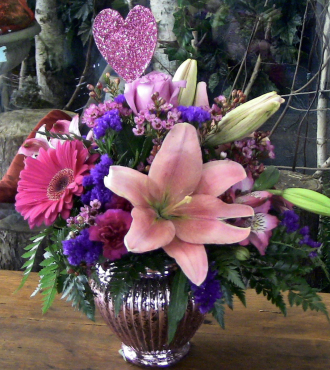 Pink Mercury Ginger Jar Bouquet