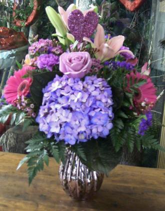 Pink Mercury Vase Arrangement