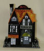 Halloween House w/ Orange Roof Decoration