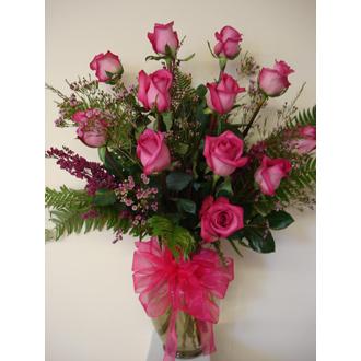 Dozen Long Stem Pink Roses Vased