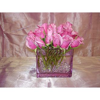 Lavendar Roses Square Vase