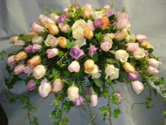 Funeral Casket Spray Multi Color Roses