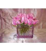 Pink Rose Cube Vase