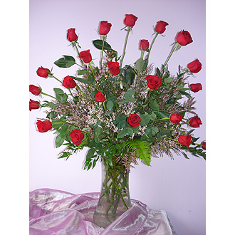 Two Dozen Long Stem Roses Vased