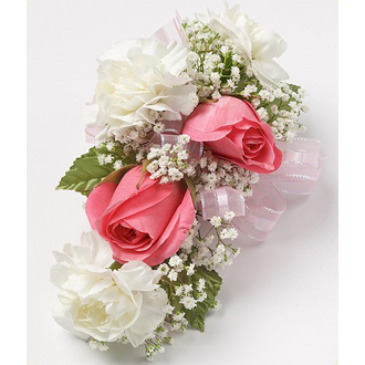 Pink Roses & White Mini Carnations