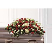 RED & WHITE CASKET SPRAY