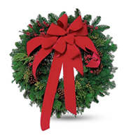 Flowers By Bauers Wreath With Red Velvet Bow