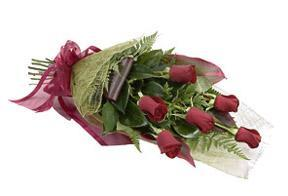 Half a dozen roses, wrapped
