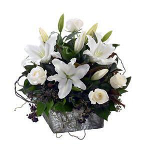 Elegant White Basket Arrangement