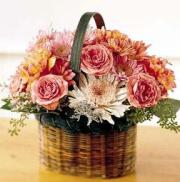 Pink basket with roses