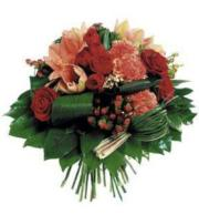 Round Bouquet in Red & Orange
