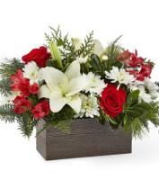 Send CHRISTMAS table CENTERPIECE of white and red flowers in West Michigan, Sunnyslope Floral GRAND RAPIDS MI
