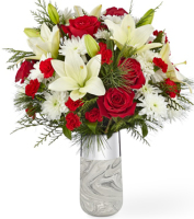 Contemporary Holiday Flower Bouquet in red & white with same day delivery in Grand Rapids Area, Sunnyslope Floral