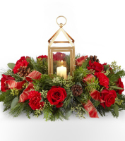Send Local Holiday Centerpiece in red & white Flowers same day in Grand Rapids Area, Sunnyslope Floral Flower Delivery