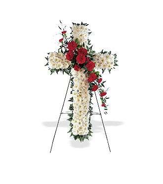 Sympathy cross easel spray & other sympathy ideas for same day delivery to the funeral home or memorial service with Sunnyslope Floral, your local delivery specialists